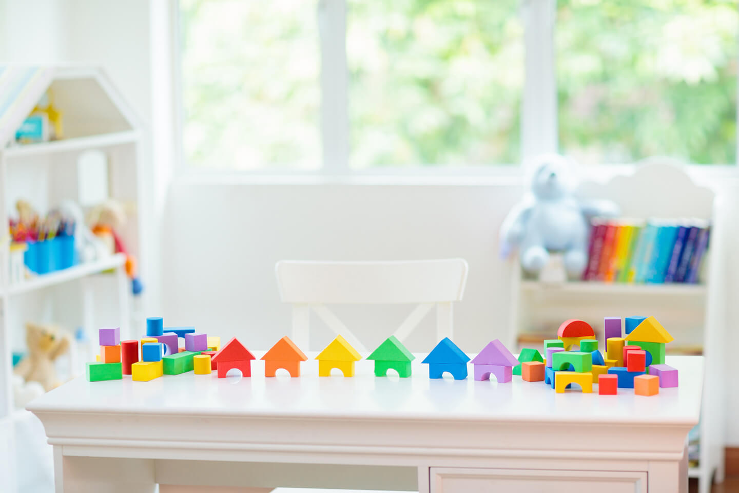 Toy blocks on a table in a childcare center in Blacktown, Liverpool in Sydney