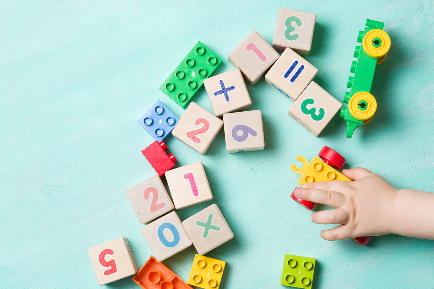 Child playing with lego and number blocks at a childcare center in Carlingford, Epping area in Sydney